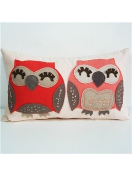 Lovely Red and Pink Owl Pattern Super Soft Throw Pillow
