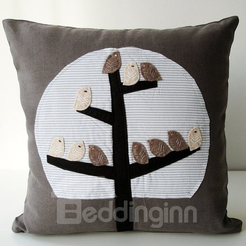 Light Brown Background Color Beautiful Birds Pattern Throw Pillow