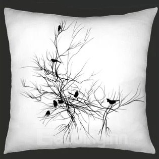 Dark Style Black Branches and Birds Pattern Throw Pillow