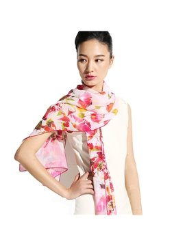Pink Falling Flower In Silence Long Mulberry Silk Scarf