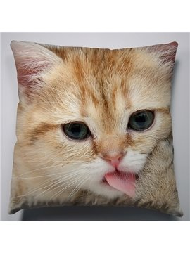 Cute and Lovely Protruding Tongue Cat Pattern Soft Throw Pillow