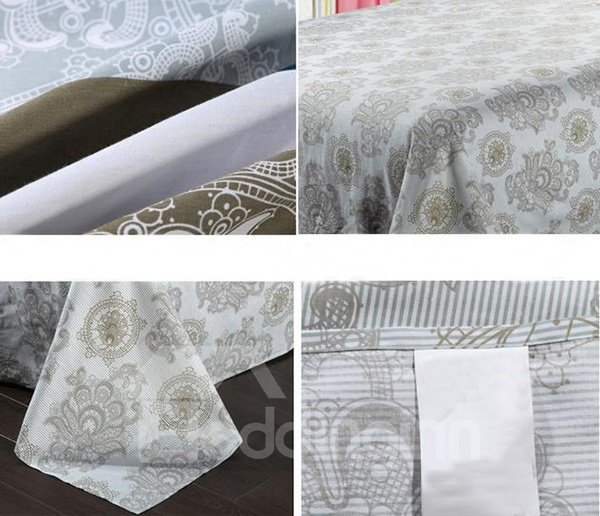Concise Style Light Gray Round Flowers Pattern Printed Sheet