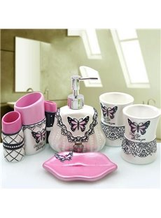 Romantic Creative Pink Butterfly Shaped 5-Pieces Bathroom Accessories