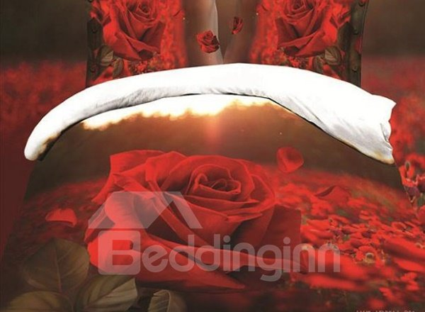 Fancy Red Rose Garden Print 4-Piece Polyester Duvet Cover Sets