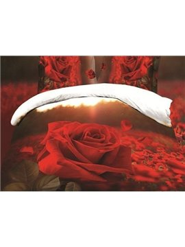 Fancy Red Rose Garden Print 4-Piece Polyester Duvet Cover Sets