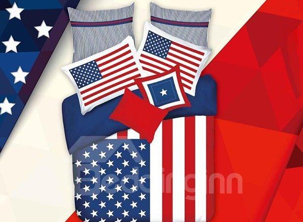 Unique National Flag Print 4-Piece Cotton Duvet Cover Sets