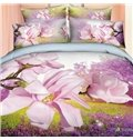 Wonderful Magnolia and Lavender Field Print 4-Piece Cotton Duvet Cover Sets