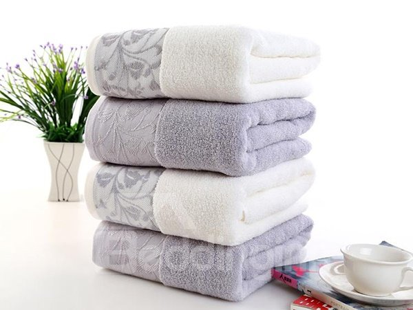 Super Plush Jacquard Solid Color Full Cotton Bath Towel