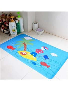 Adorable Contemporary Cartoon Island Print Bath Rug