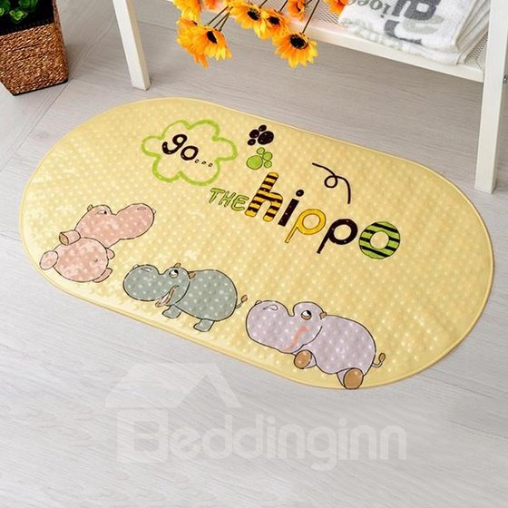 Lovely Cartoon Hippo Print Bath Rug