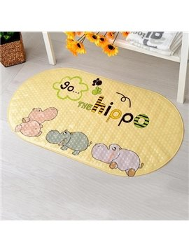 Lovely Cartoon Sea Horse Print Bath Rug