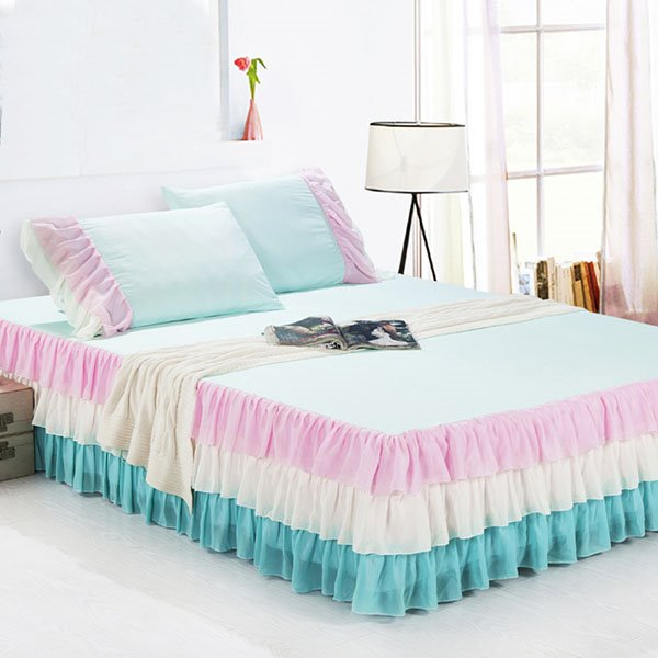 Wonderful Dreamlike Rainbow Like Colors Matching Pattern Bed Skirt and One Pair Pillow Cases