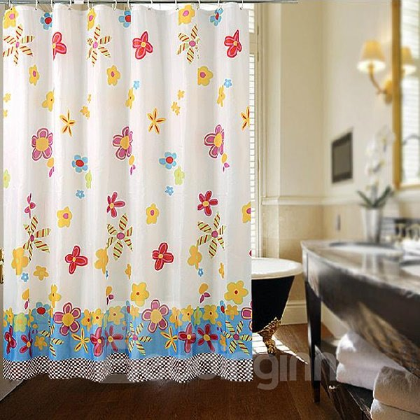 New Arrival Adorable Graceful Floral Print Shower Curtain