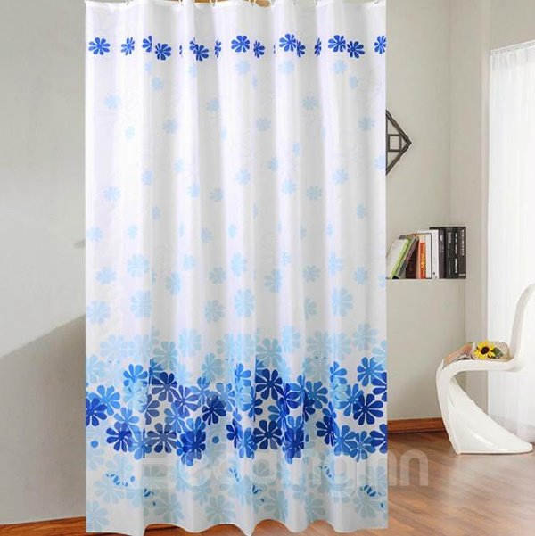 Elegant Beautiful Blue Petal Print Shower Curtain