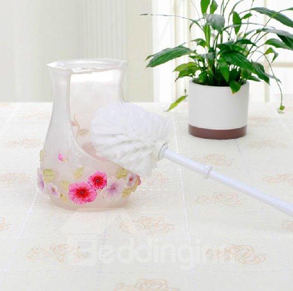 Beautiful Novel Floral Image Resin Toilet Brush Holder