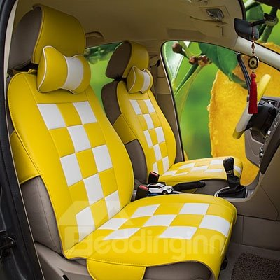 Bright Colored Pattern With White Squares Soft Universal Car Seat Covers