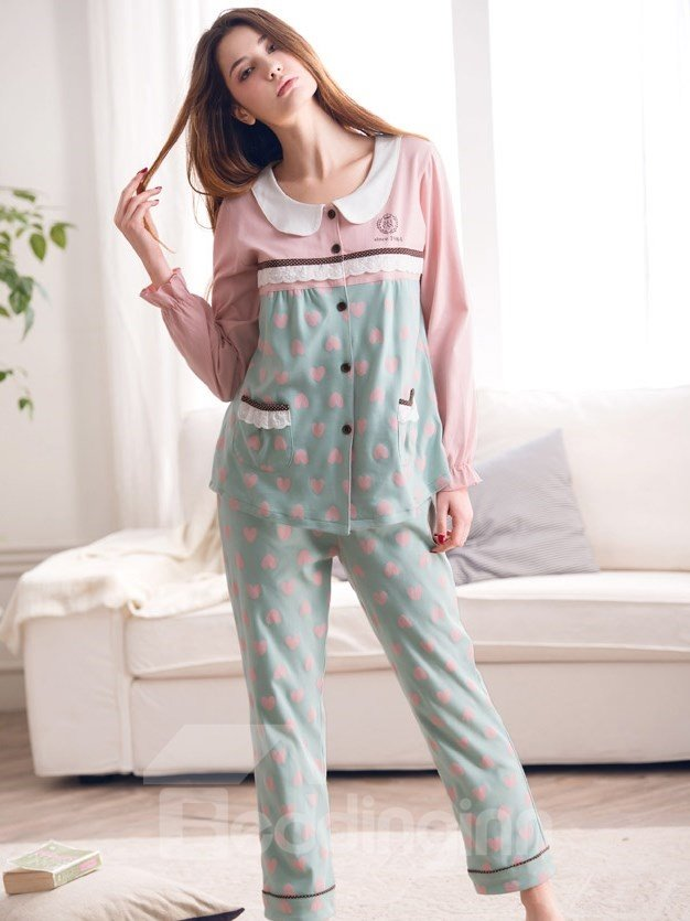 Sweet Comfortable Cotton Long Sleeves Lady Pajama Set