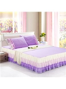 Ultra Soft Fantastic Light Purple Style Cheap Bed Skirt and One Pair Pillow Cases
