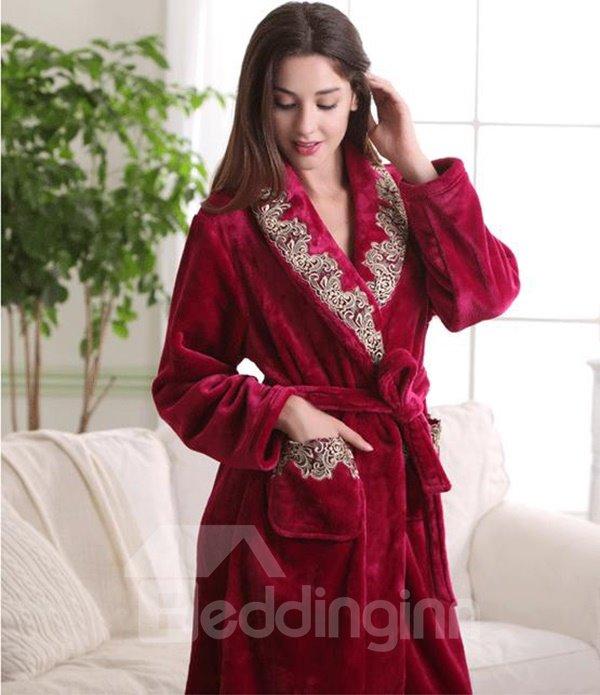 Elegant Contemporary Floral Solid Color Flannel Bathrobe