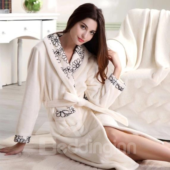 Elegant Contemporary Floral Solid Color Flannel Bathrobe