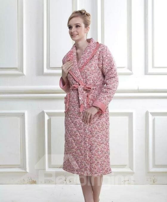 Adorable Graceful Floral Print Female Cotton Bathrobe