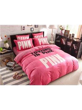Fashion Pink Letters Print 4-Piece Coral Fleece Duvet Cover Sets
