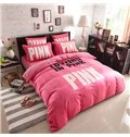 Pink Letters Print Velvet Princess 4-Piece Duvet Covers/Bedding Sets