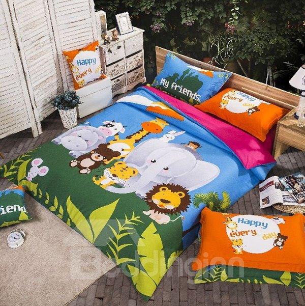 Animal Kingdom Print 4-Piece Cotton Duvet Cover Sets