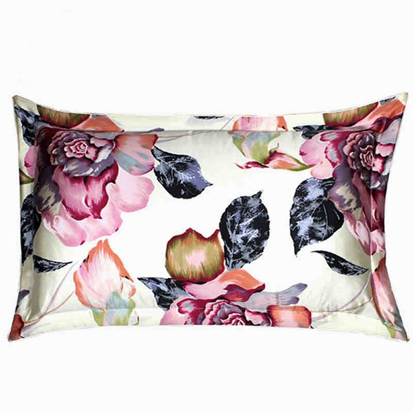 Elegant Blooming Peony and Petal Pattern Mulberry Silk Bed Pillow Case
