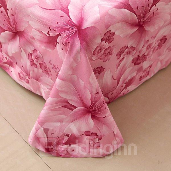 Excellent Pink Lily Flower Print 4-Piece Cotton Duvet Cover Sets