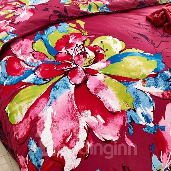 Fancy Oil Painting Flower Print 4-Piece Cotton Duvet Cover Sets