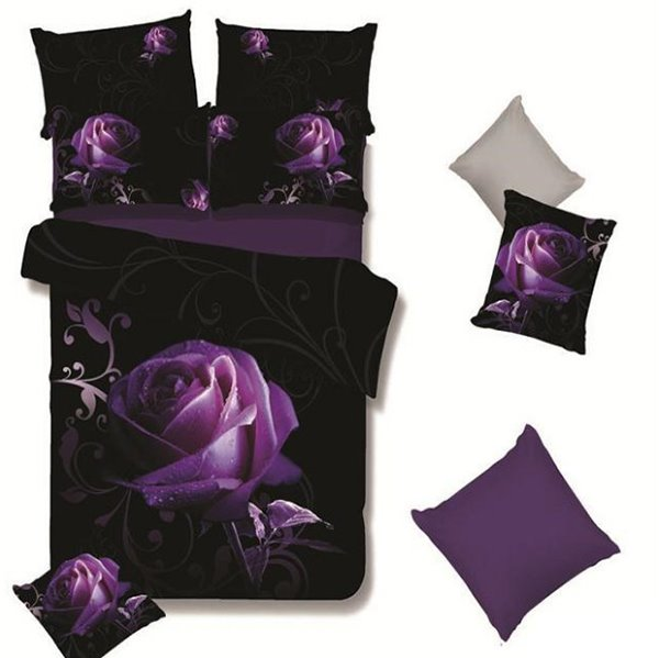 A Big Purple Rose with Grapevine Print 4-Piece Polyester Duvet Cover Sets