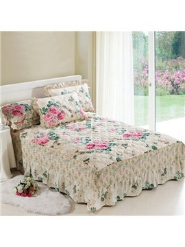 Amazing Gorgeous Pink Flowers Green Leaves Pattern Ultra Soft Bed Skirt