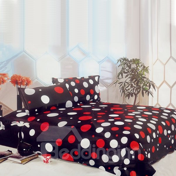 Black Background Red and White Dots Coral Thick Quilt