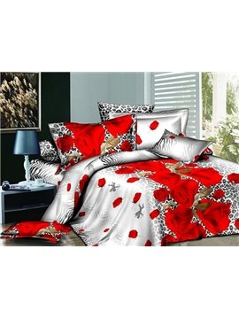 Red Rose and Leopard Pattern 4-Piece Polyester Duvet Cover Sets