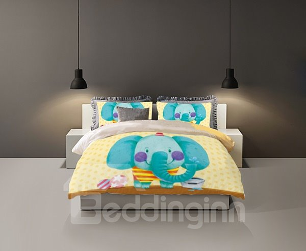Super Cute Cartoon Elephant Print 4-Piece Coral Fleece Duvet Cover Set