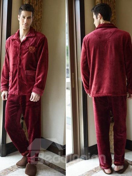 Comfortable Burgundy Patched Pockets Flannel Male Pajamas Set