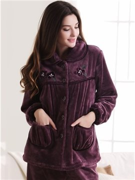 Doll Collar Patched Pockets Flannel Lady Pajamas Set