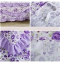 Gorgeous Bright Purple Floral Pattern Ultra Soft Bed Skirt