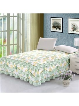 Green and Beige Yellow Floral Pattern Ultra Soft Bed Skirt