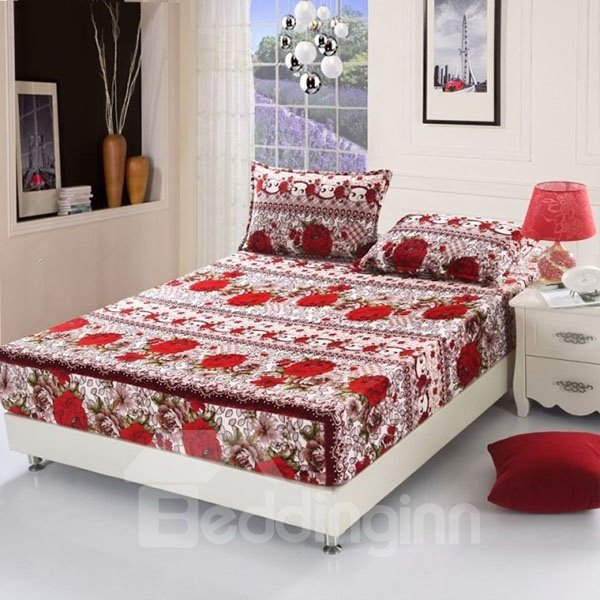 Wonderful Bright Red Blooming Rose Pattern Fitted Sheet