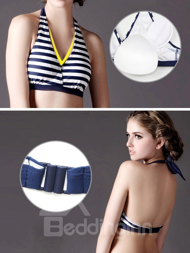 European 3 Pieces Blue And White Strap Bikini And Cover Up