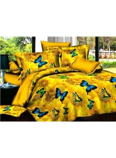 Butterfly Angel and Yellow Sunflower Print 4-Piece Polyester Duvet Cover Sets