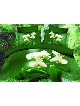 White Flower with Green Background Print 4-Piece Polyester Duvet Cover Sets
