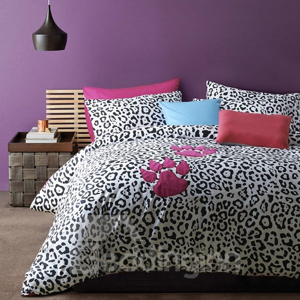 Modern Leopard and Claw Pattern 4-Piece Cotton Duvet Cover Sets