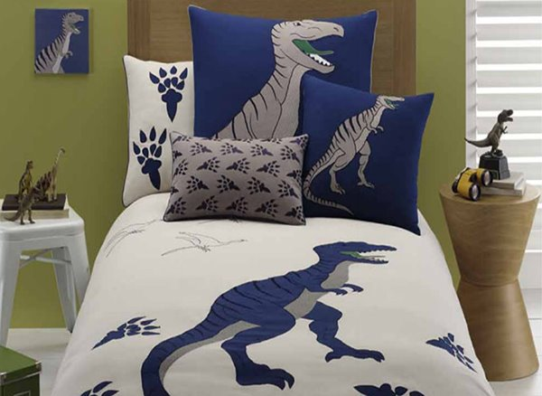 Dinosaur Embroiderys 4 Pieces Cotton Duvet Cover Sets