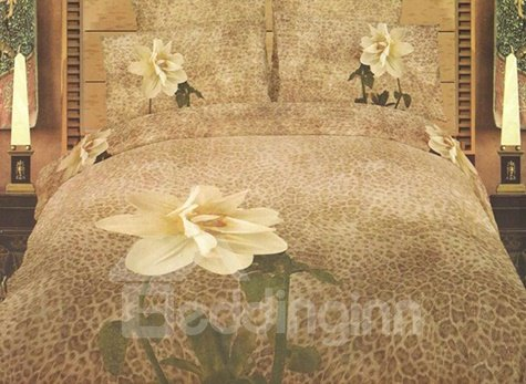 Fascinating Flower with Leopard Background Print 4-Piece Cotton 3D Duvet Cover Sets