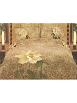Fascinating Flower with Leopard Background Print 4-Piece Cotton 3D Duvet Cover Sets