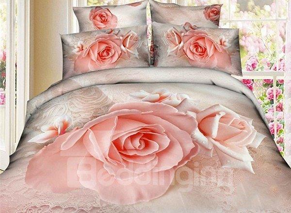 Wonderful Pink Rose Print 4-Piece Cotton 3D Duvet Cover Sets