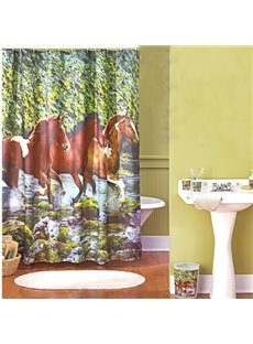 Creative Running Horse Print Polyester Shower Curtain